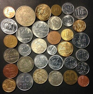Vintage Brazil Coin Lot - 1901-Present -34 Great Coins - Lot #M14