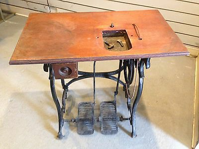 Vintage Fur Sewing Machine Table, Cast Iron Base, 2 Pedal, Wood Top with Drawer