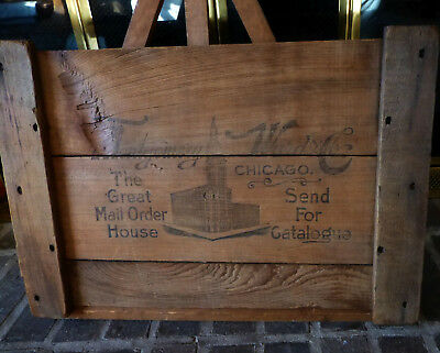Very Old Montgomery Wards SECTION of Wooden Shipping Crate End Panel Display