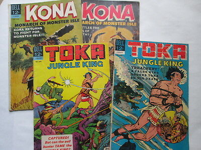 Lot of 4 Dell Comics KONA issues 10 11 1964 and TOKA issues 3 9 1965-1966