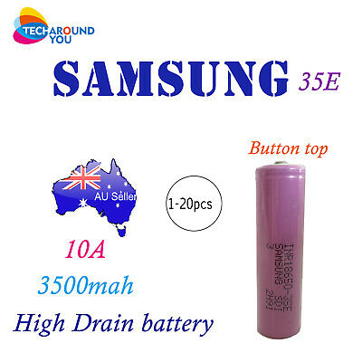 BUTTON Top Samsung 35E INR18650 Rechargeable Battery 10A 3.7V Lithium Li-Ion