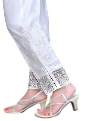 Pakistani Ladies readymade Shalwar/Pant Trouser Organza Small Border (Stitched)