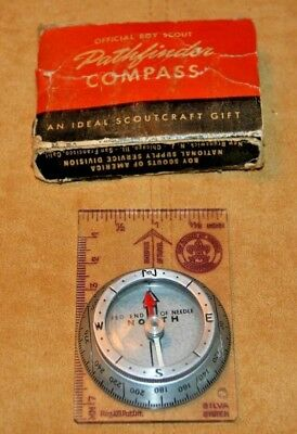 Vintage Silva Official Boy Scouts Of America Pathfinder Compass & Ruler W/box