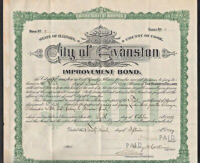 $5C Bond- City of Evanston, IL Improvement to streets s/mayor David A Dyche NWU