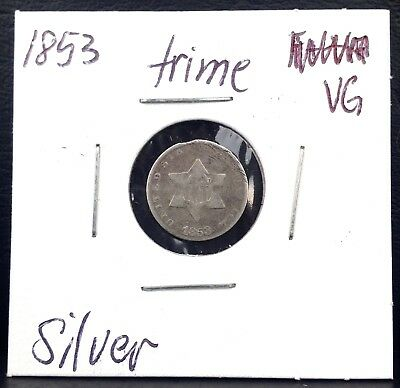 1853  3c SILVER Three-cent TRIME coin SMALL star