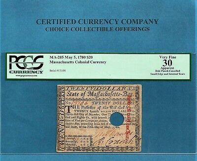 1780 $ 20 Masschusetts Colonial Note Ma-285 May 5th PCGS Very Fine
