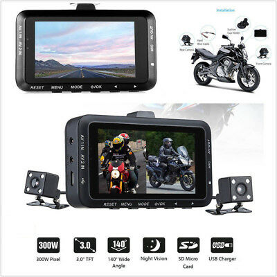"""HD Action Camera Dual Lens 3"""" LCD Motorcycle DVR Waterproof 1080P Video Recorder"""