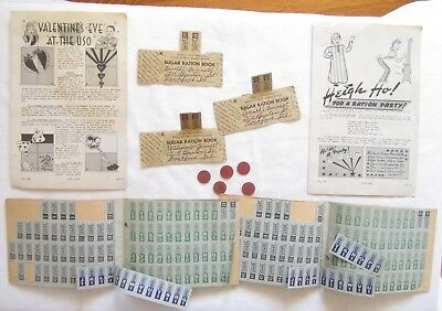 Vintage Lot Wwii Ww2 War Ration Book Stamp Coupon Red Point Coin Food Sugar Nr