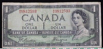 1954 Canada $1 One Dollar Fine Devils Face Variety Tough Note!!