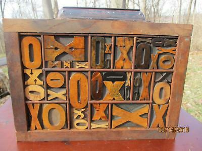 Antique Letterpress Wood Type Graphic Design Letter X & O Mix Fonts In Type Tray