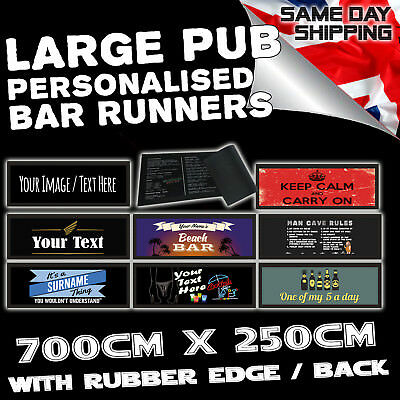 Personalised Bar Runner Novelty Bar Gifts Beer Pub Custom Mat Gift fathers day