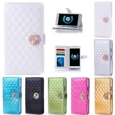 Rhinestone Phone Case Protective Sleeve Book Cover Flip Check Style M903