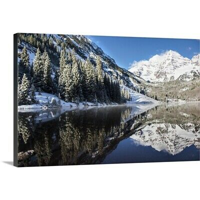 Premium Thick-Wrap Canvas Wall Art entitled Snowy Maroon Bells mirrored in