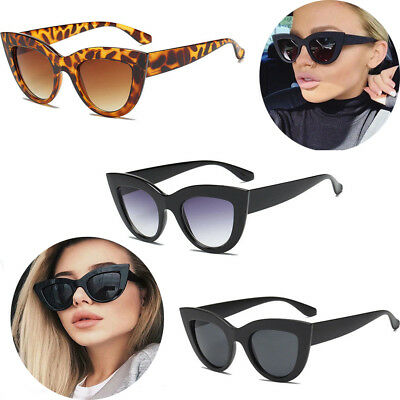 Luxury Ladies Womens Oversized Cat Eye Sunglasses Vintage Style Retro Shades WW