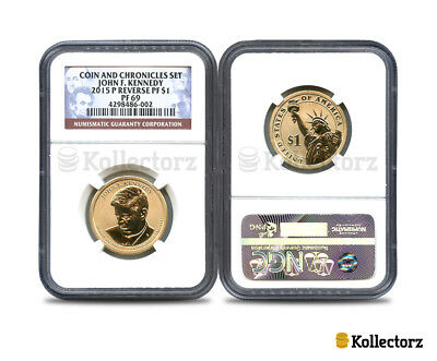 2015 P Reverse Proof John F. Kennedy Coin & Chronicles Set Dollar $1 Ngc Pf69