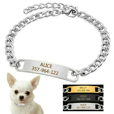 Small Dogs Chain Dog Collars & Personalized Dog ID Tags Name Phone Free Engraved
