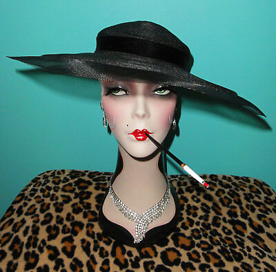 Vintage Black Saucer Hat pinup girl gatsby flapper retro rockabilly goth witch