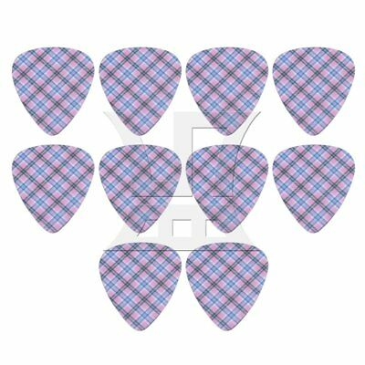 0.046cm Thickness Plastic Guitar Picks Set of 10 Blue Grid Pattern