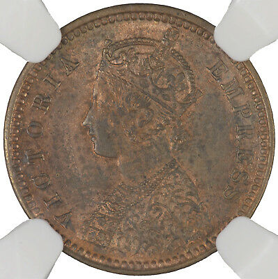 India (Dewas, Senior Branch) 1888 1/12 Anna NGC MS61 BN, VERY SCARCE ISSUE!