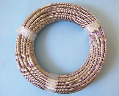 """304 Stainless Steel Cable, 1/4"""", 7x19: 10 to 100 ft Coil. Made in Korea"""