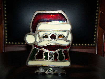 Inarco Vtg Stained Glass Metal Christmas Santa Tealight Votive Candle Holder