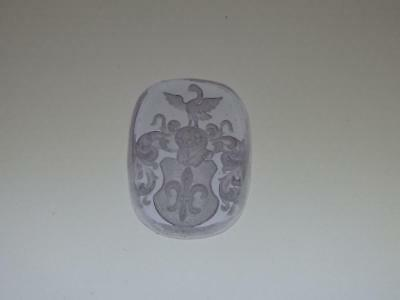 SWAN COAT of ARMS clear lilac VENETIAN INTAGLIO*Tassie*Loose unset TAGLIAMONTE