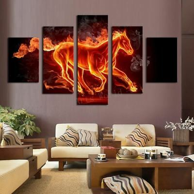 Abstract Fire Horse Wall Art on Canvas Print For Living Room Framed Unframed