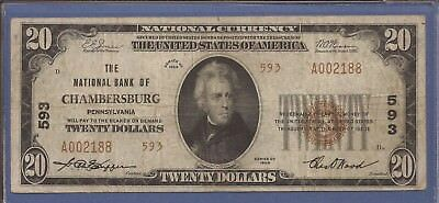 CH 593,1929 T-2 $20 National Currency,The NB of Chambersburg, PA,Fine,Nice!