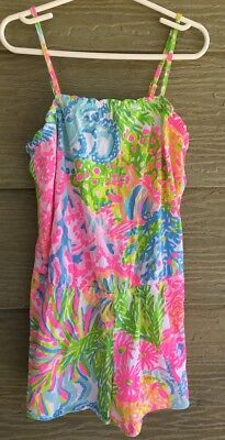 Lilly Pulitzer Lover's Coral Girls L 8 10 Peyton ROMPER Neon Tropical Blooms