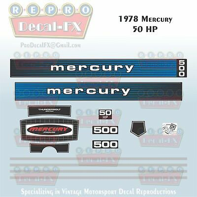 1978 Mercury 140 HP Outboard Reproduction 15 Piece Marine Vinyl Decals 1400