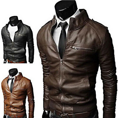 Men's Fashion Slim Leather Jacket PU Collar Biker Motorcycle Coat Warm Outwear