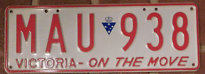 License Plate Number Plate Vic Red on White  MAU 938