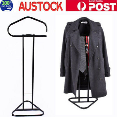 Valet Clothes Stand Jacket Timber Hanger Coat Mens Suit Trousers Storage Shelf