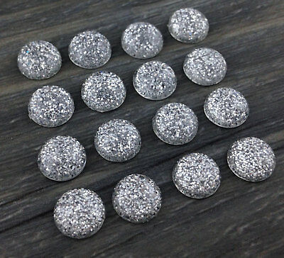 8mm Silver Glitter Cabochons 10pc - Resin Dome Cabs DIY Jewerly  FBC127s