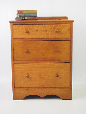 Small Antique Edwardian Oak Chest of Drawers -Vintage Low Boy Hall Bedroom Chest