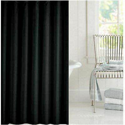 Clearance Solid Black Fabric Shower Curtain 2m Long FREE SHIPPING