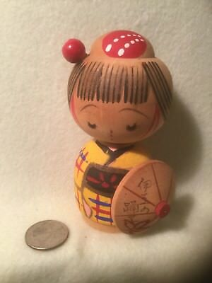 "Vintage Japanese Kokeshi Hand Crafted Doll - Signed - 4.5"" Tall"