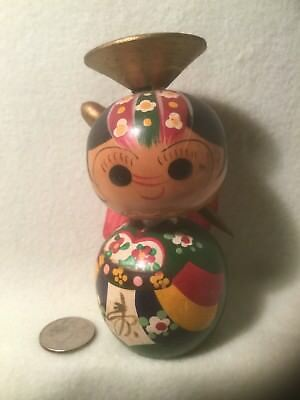 "Vintage Japanese Kokeshi Hand Crafted Doll - Signed - 4.875"" Tall"