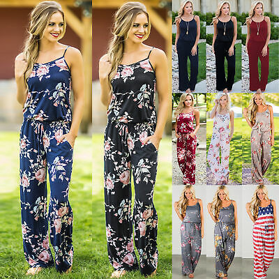 Plus Size Boho Womens Floral Holiday Long Playsuits Dress Trousers Jumpsuit 8-20