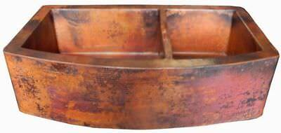 SINK-Rounded-Apron-Front Farmhouse Kitchen-Double Bowl-MOROCCAN-Copper-hand new