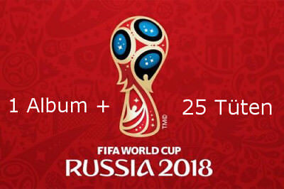 Panini WM 2018 Russia World Cup Sticker Album + 25 Tüten Booster NEU OVP