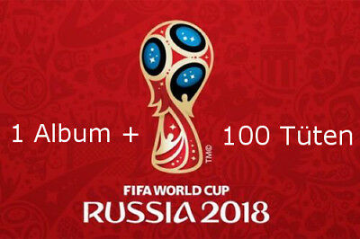 Panini WM 2018 Russia World Cup Sticker Album + 100 Tüten Booster NEU OVP