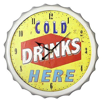 Wanduhr Kronkorken - ''Cold Drinks Here'' Retro Design Wanduhr Vintage