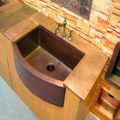 SINK-Rounded-Apron-Front Farmhouse Kitchen-Bowl-MOROCCAN-Copper-hand hammere-TOP