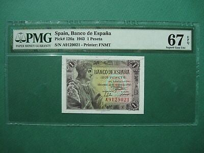 "1943 SPAIN 1 PESETA P# 126a PMG 67 EPQ SUPERB GEM UNC ""FINEST KNOWN POP 1"""
