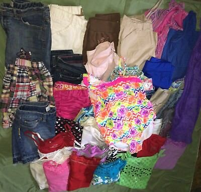 girls spring summer clothes Capris shorts swim tops sz 10/12 lot of 38 Justice