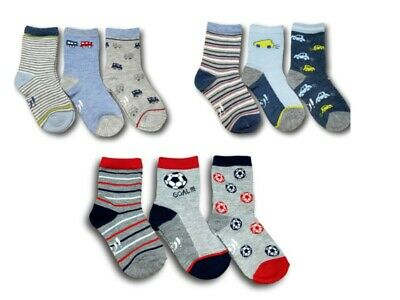 Baby Toddler Boys Cotton Blend Socks 3 Pairs  Multi Buy Size 6 months 3 Years