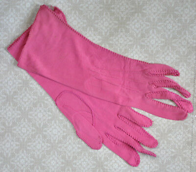 Vintage Womens Pink Jersey Knit Gloves  NOS