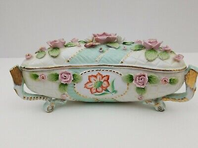 Vintage Ceramic Flower Trinket Box Jewelry Box with Lid Decorative Container
