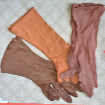 Vintage Womens Brown and Copper Rayon Knit Gloves